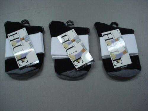 NWT Women/'s Hue Cotton Bodysock Socks One Size Black w// White//Grey 3 Pair #145J