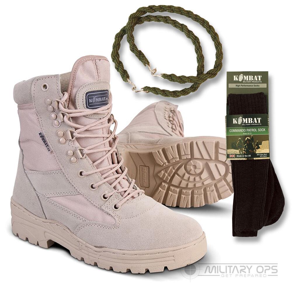 Army Desert Combat Patrulla Arranque Arena Bronceado Beige De Cuero Gamuza Con Calcetines Y Giros