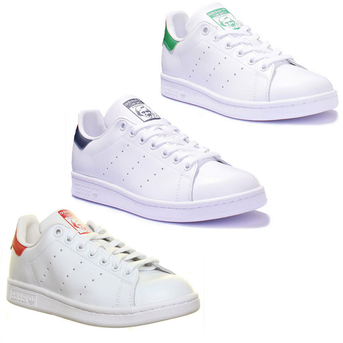 Adidas Stan Smith 3 Damens Leder Matt Weiß Grün Trainers 3 Smith - 8 c00de8