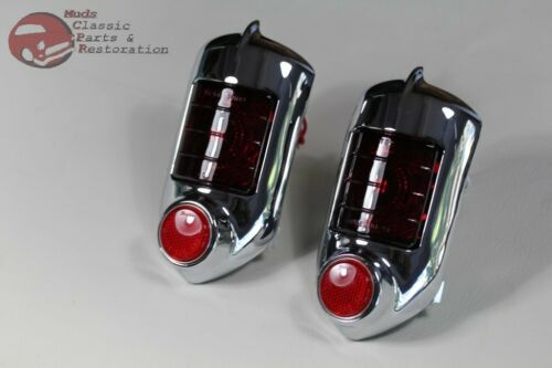 51-52 Chevy Passenger Car Tail Lamp Light Assembly Red Glass Lens Reflector Pair