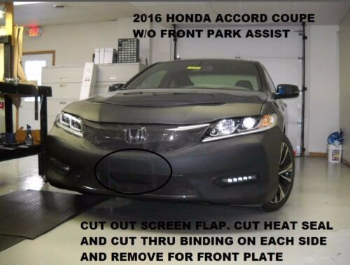 Lebra Front End Mask Cover Bra Fits HONDA Coupe w//o Front Park Assist 2016