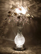 Blossom Silver Woven Wire Metal Table Lamp White Flowers Floral Beads Glamour