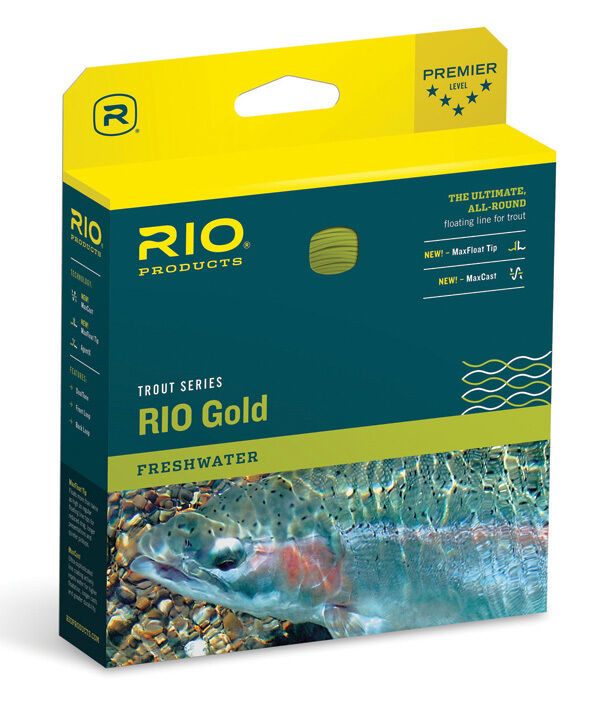 RIO gold NEW WF-8-F WEIGHT FORWARD FLOATING FLY LINE MOSS & gold MAXCAST
