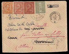 REGNO 1895 - TRICOLORE MISTA DUE RE n.39+T14+T15 RISPEDITA X FRANCIA