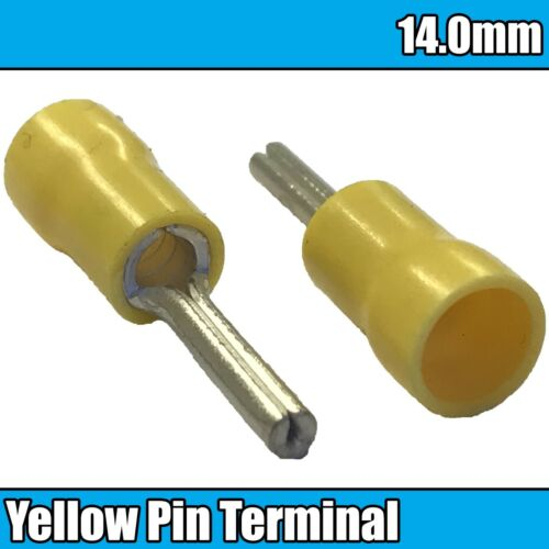 Jaune PIN Entièrement Isolé électrique cuivre 14 mm à Sertir Terminaux Câble Fil