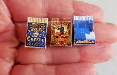 DOLLHOUSE MINIATURE ~ COFFEE SACKS 3 PIECE SET ~  LORRAINE SCUDERI