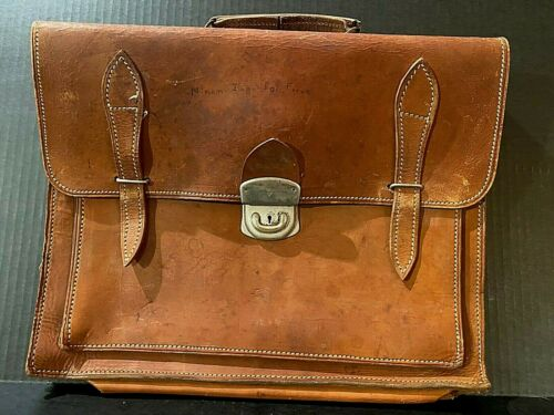 Vintage 1950s Brown Leather Briefcase