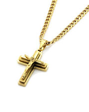 """14k Gold Plated Stainless Steel Mini God Cross Pendant 30"""" Cuban Necklace Chain"""
