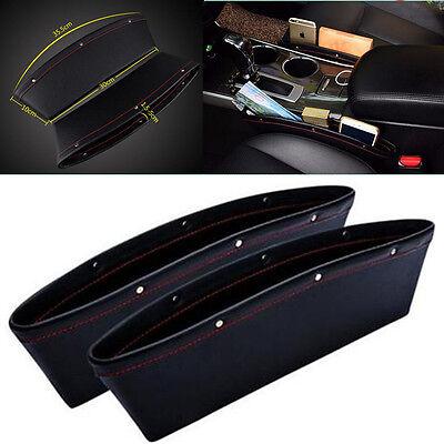 2x Black PU Leather Car Seats Catcher Gap Slit Bag Pocket Storage Leak-proof Box