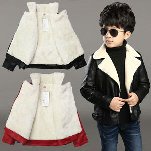 8e725b0e0 Teens Kids Boys Clothing Faux Leather Fleece Jackets Soft Coats ...