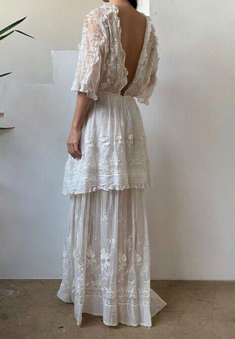 Antique cotton embroidered Edwardian dress - image 2