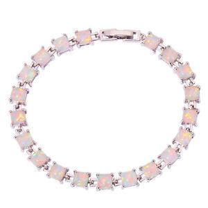 White-Fire-Opal-Silver-Hot-Sell-Women-Jewelry-Gemstone-Chain-Bracelet-8-034-OS436