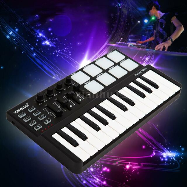 Worlde 25-Key USB Keyboard and Drum Pad MIDI Controller Durable Black New D1Q8