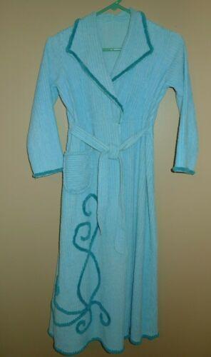 Vintage 1950's Chenille Bathrobe - Turquoise