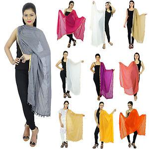 Women-Long-Dupatta-Indian-Scarf-Stole-Hijab-Neck-Wrap-Viscose-Chiffon-ND523
