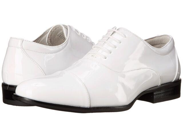 2972435332a Men's Stacy Adams Gala Cap Toe Oxford 24998 9.5 M White Patent PU