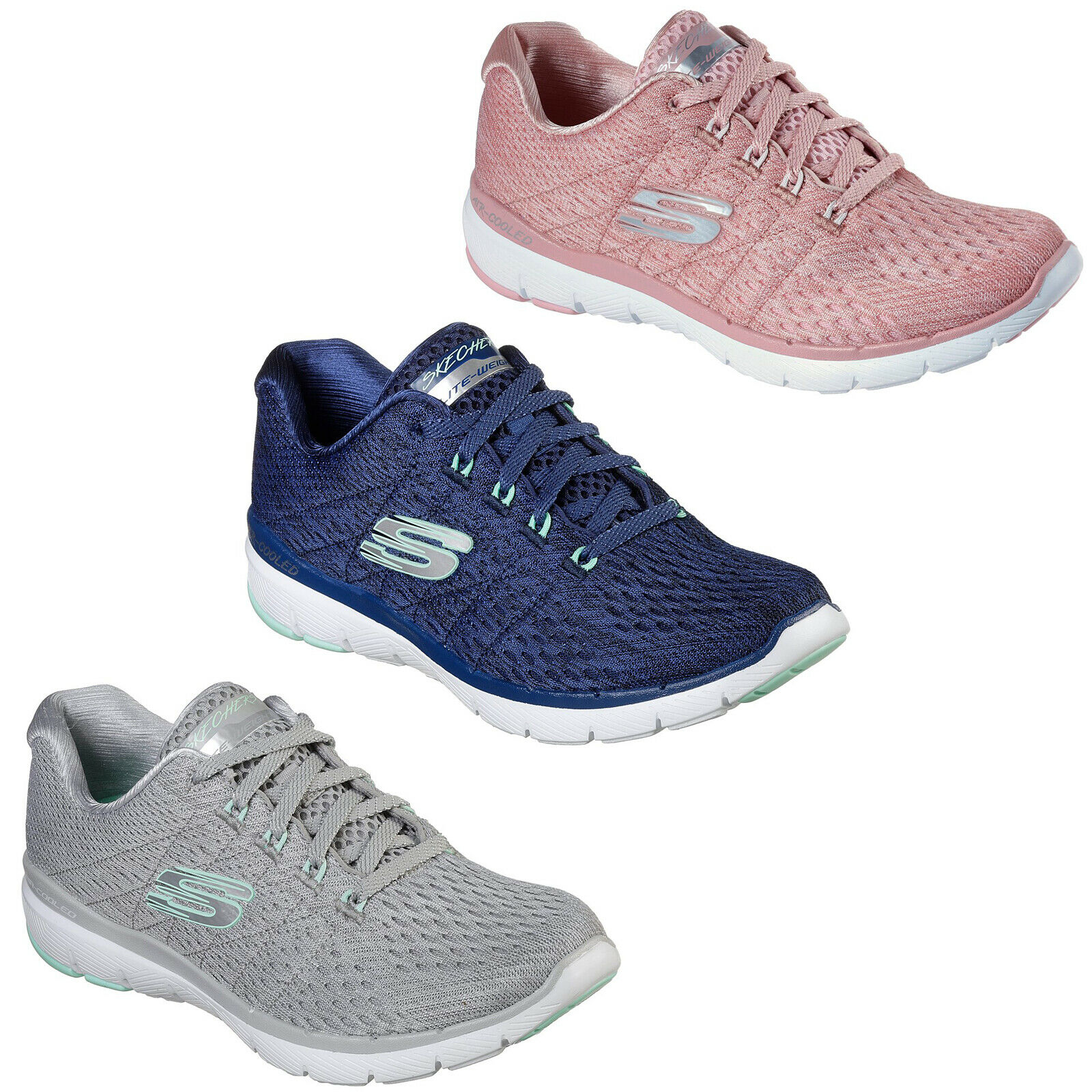 Skechers Flex Appeal 3.0 - Satellites Trainers Womens Sporty Melange shoes 13064