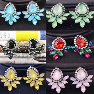 1-pair-Fashion-Elegant-Crystal-Rhinestone-Ear-Clip-Stud-Dangle-Drop-Earrings