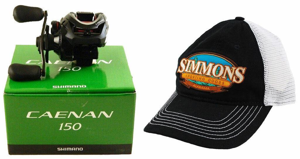 BUNDLE-SHIMANO CAENAN 150 CAE-150A 6.3 1 RIGHT HAND BAITCAST REEL + HAT