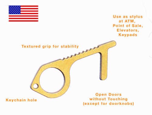 USA Door Opener Brass Clean Key No Touch ATM Stylus Antimicrobial Copper EDC