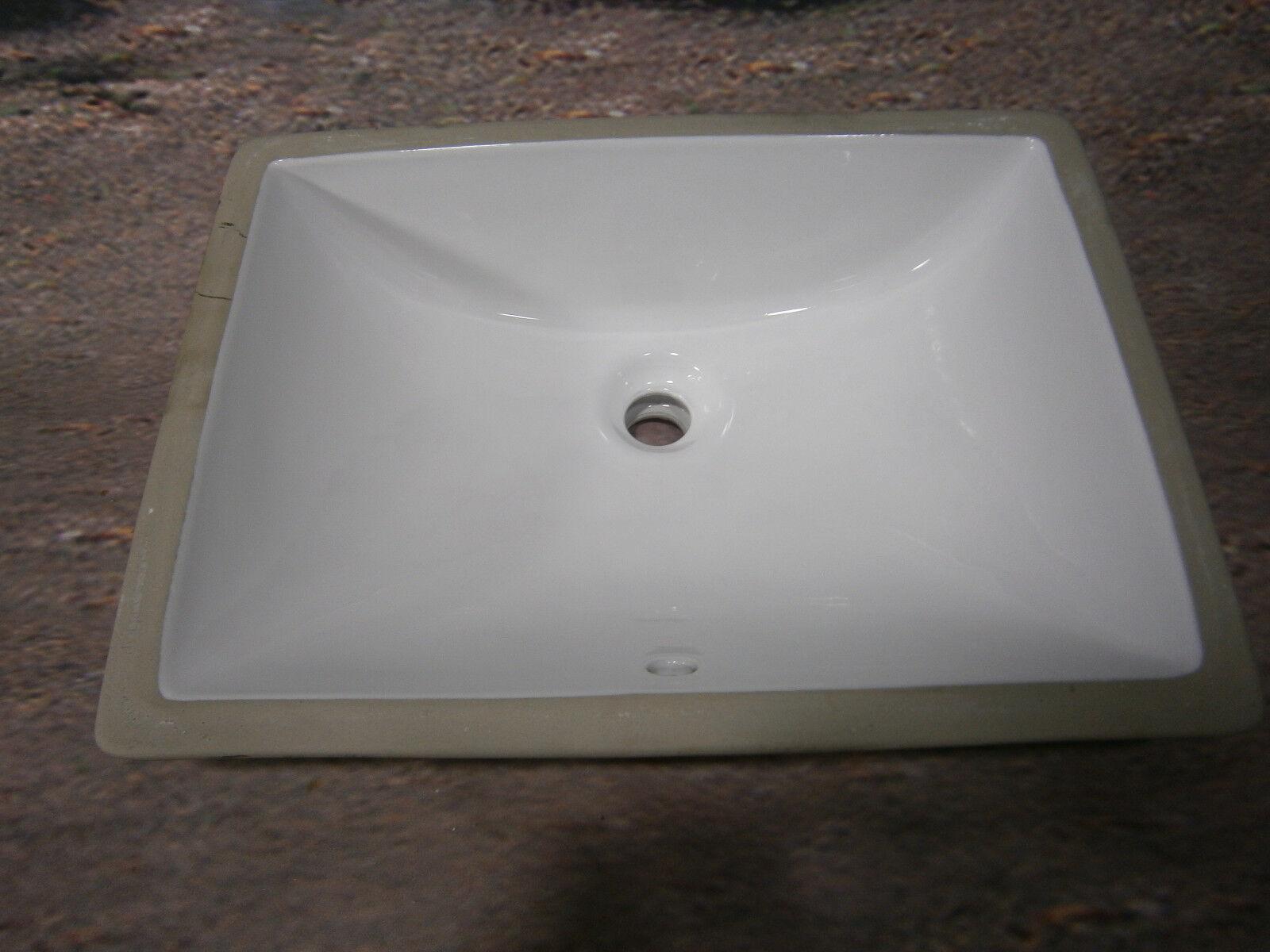 White Undermount Rectangular Bathroom Sink With Overflow