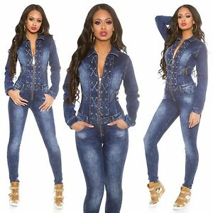 up Denim m Long Xs Lace xl Women's Sleeve s l Jumpsuit Jeans Overall Oqwp55