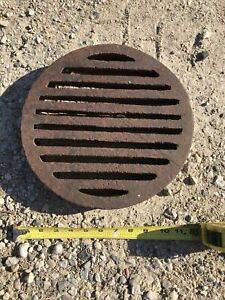 "CAST IRON GRATE ROUND 11.5"" Diameter X 1.625"" Thick Rust Patina"