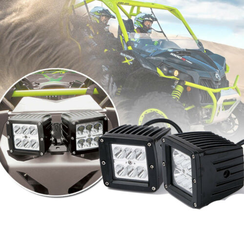 2x LED Cube Pod lower bumper lights 18w roof For Can-Am Maverick XDS Turbo 46550