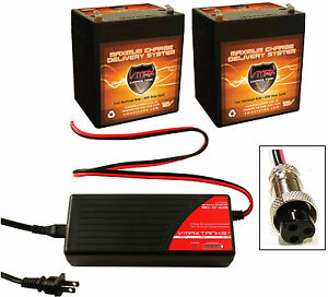 BC2403 Charger + (2) VMAX V06-43 12V 6AH Battery for Razor E100 Electric Scooter