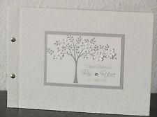 Gästebuch Hochzeit Hochzeitsgästebuch Tree Guest Book Geschenk silber creme
