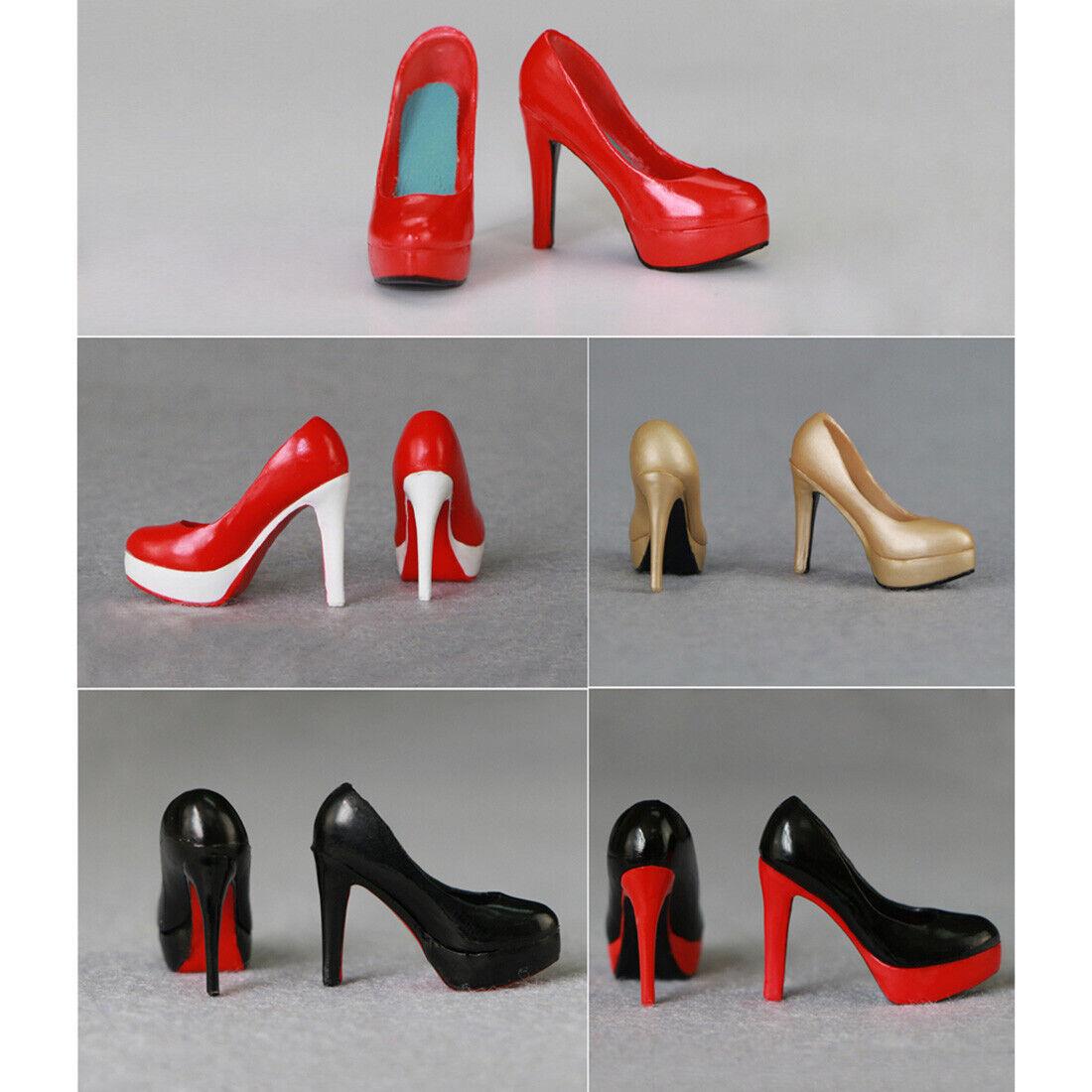 "1//6 High Heel Shoes BLACK GOLD For 12/"" TBLeague Phicen HotToys Female Figure USA"