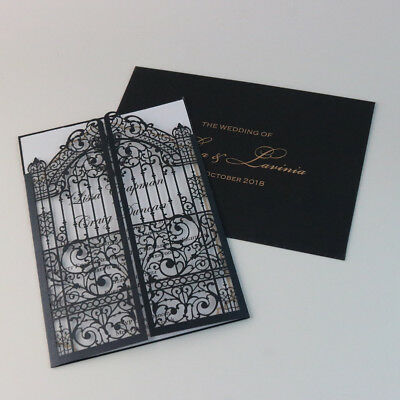 50 Laser Cut European Gate Fold Elegant Wedding Invitation Cards Envelope Ebay