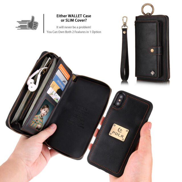 4346289ed5c7 Zipper Purse Detachable Leather Wallet Case Magnetic Cover For iPhone &  Samsung