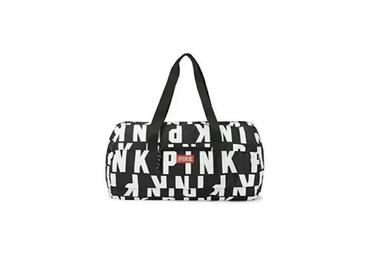 NWT Victoria SECRET Pink Duffel Black-White Duffle Tote Bag zipper Logo