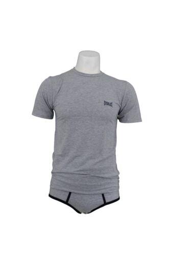 Coordinato intimo T-shirt e Slip Uomo EVERLAST EU155 Grigio//Blu Made in Italy