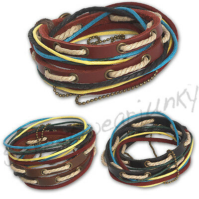 ★Wickelarmband Tibet Style Surfer Armband Leder Unisex Bracelet Leather D307★