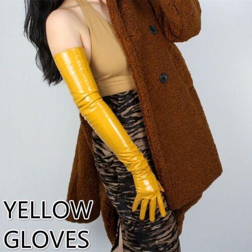 Damen Lack-Optik Lange Handschuhe Kunst PU Lackleder Tanz Party Ball Bankett