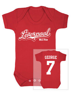 12c61a2ce Image is loading LIVERPOOL-Football-Personalised-Baby-Bodysuit-Vest
