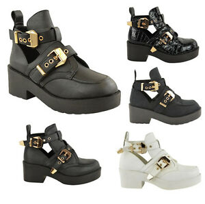 LADIES WOMENS CUT OUT CHUNKY BUCKLE BIKER FLAT LOW MID HEEL ANKLE