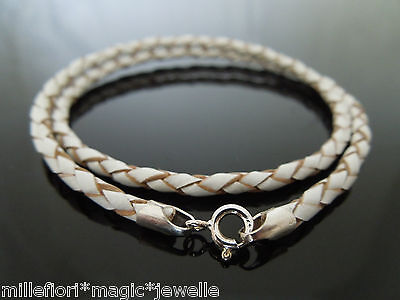 """3mm Black Leather 925 Sterling Silver Necklace Or Wristband 16/"""" 18/"""" 20/"""" 22/"""" 24/"""""""