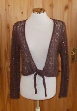 MONSOON brown knitted crochet sequin MOHAIR WOOL cardigan shrug top tie-front 12