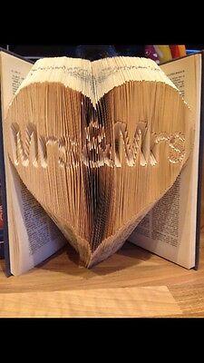 Folded book art folding pattern MRS & MRS in heart, Lesbian Gay Wedding  #094