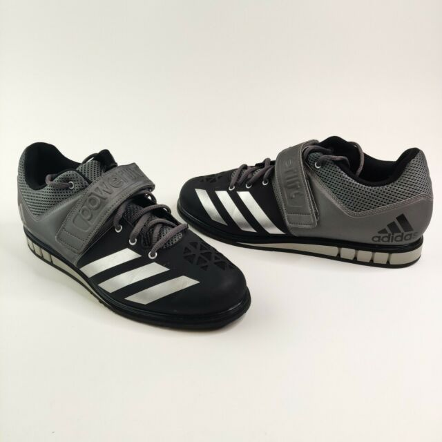 Adidas Powerlift 3 Weight Lifting Shoes Size 12 AQ3330 Lace + Strap Black Silver