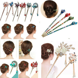 Women-Metal-Rhinestone-Hair-Stick-Hair-Chopsticks-Hairpin-Pin-Chignon-Jewerly