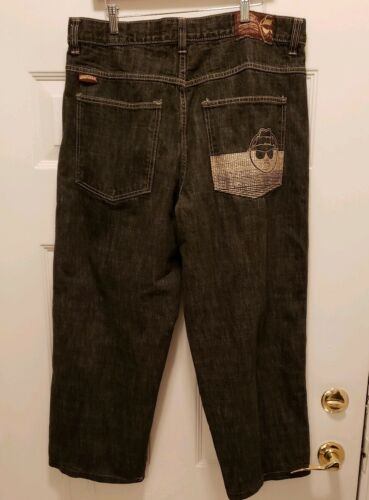 Mens Low Rider Black Jeans Size 38X30 Pocket Desig
