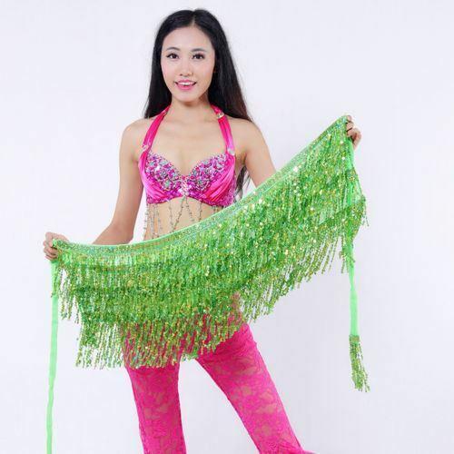 BELLY DANCE HIP SCARF BELT WAIST SKIRT WRAP TASSEL FRINGE SEQUIN DANCING COSTUME