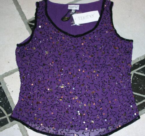 LUXUS PARTY ABENDTOP PAILLETTEN BESTICKT 34 TOGETHER lila violett *816448 NEU