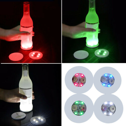 LED Colour Changing Light Up Coasters Beer Drinks Mats Base Bottle Vase Party