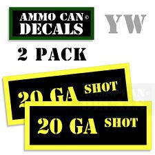 20 GA SHOT Ammo Can Box Decal Sticker Set bullet ARMY Gun safety Hunt 2 pack YW