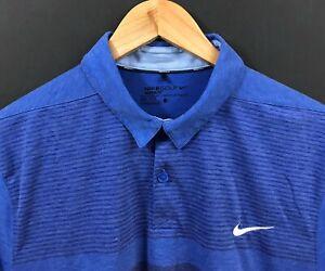 NIKE-GOLF-Men-039-s-Blue-Striped-Modern-Fit-Short-Sleeve-Dri-Fit-Polo-Shirt-L-Large
